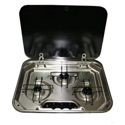 SMEV 3 Burner Stainless Steel Cooktop with Glass Lid