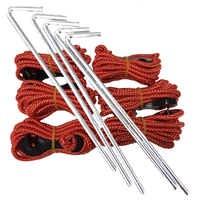 Privacy Screen Tie Down Ropes & Peg Kit (6 Pack)